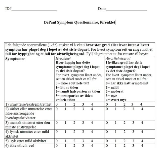 DePaul Symptom Questionnaire_forenklet_52 spm sympt_hyppighet_grad