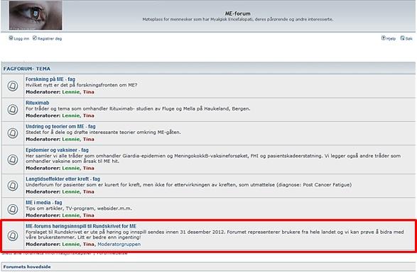 ME forums plassering av høringsinnspill til Rundskriv