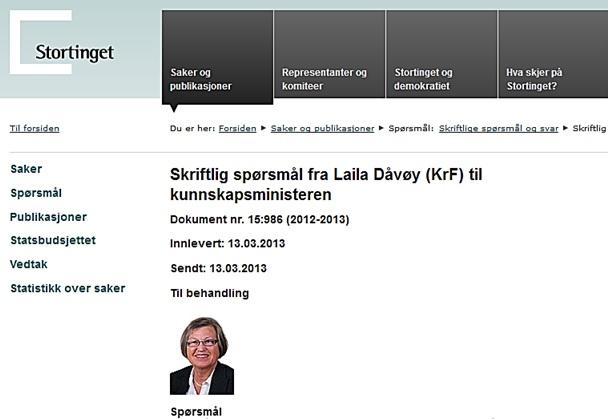 Spm Dåvøy til Kunnskapsministeren 13mars2013