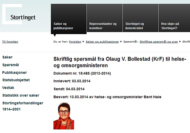 Skriftlig spørsmål_Stortinget_Bollestad_4 mars 2014