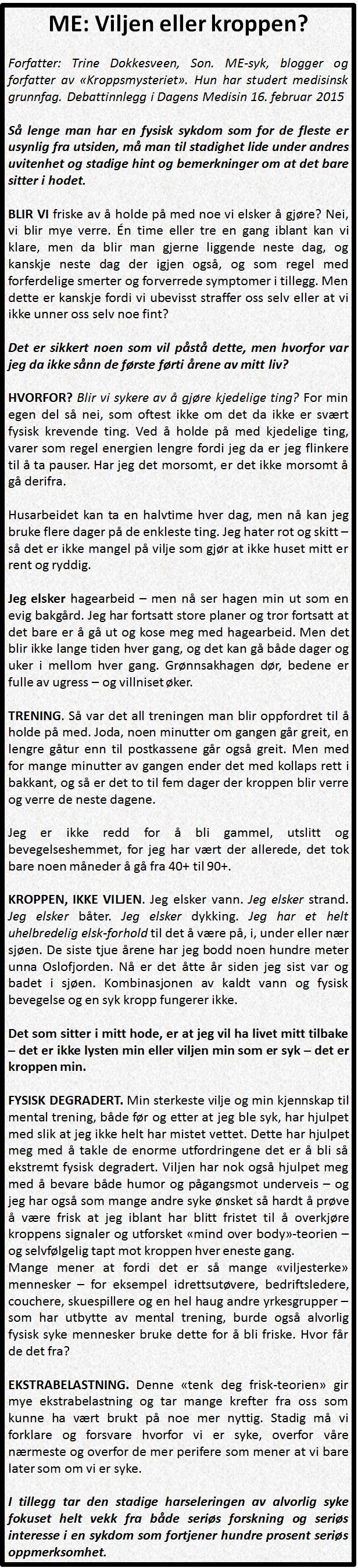 Viljen eller kroppen av Trine D_16feb2015_Dagens Medisin