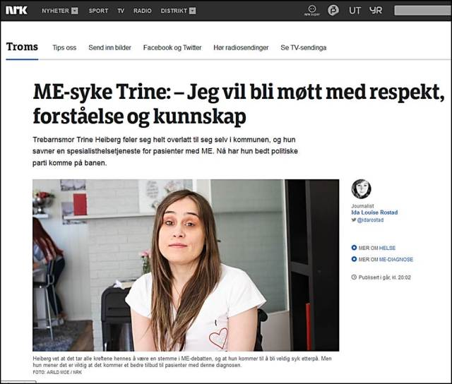 Intervju ME syke Trine Helberg NRK 11sept2015