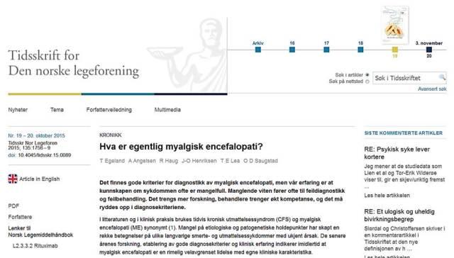 Kronikk ME_Tidsskriftet 20okt2015_Saugstad m fl